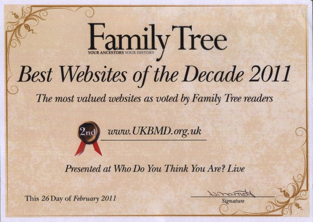 Website of the Decade 2011 Award Certificate